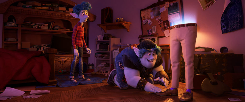 "PURPLE SOCKS -- In Disney and Pixar's ""Onward,"" brothers Ian and Barley use a spell gifted to them on Ian's 16th birthday to magically conjure their dad—half of him, anyway—right down to his signature purple socks. Featuring the voices of Tom Holland and Chris Pratt as Ian and Barley, ""Onward"" opens in U.S. theaters on March 6, 2020. © 2019 Disney/Pixar. All Rights Reserved."