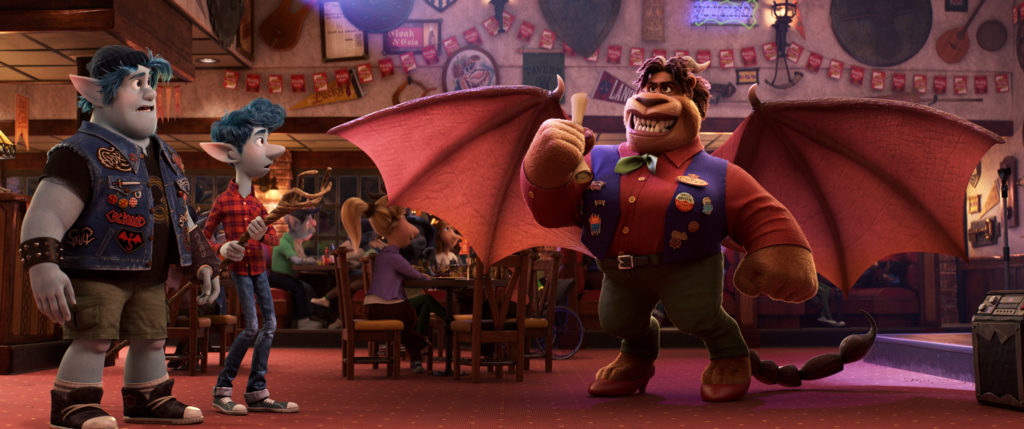 "EN ROUTE -- In Disney and Pixar's ""Onward,"" brothers Ian and Barley seek an ancient map from the Manticore—once a mighty warrior whose tavern served as a waystation for travelers embarking on epic quests. Part lion, part bat and part scorpion, the Manticore has adapted to changing times—but her adventurous spirt still lurks within. Featuring the voices of Tom Holland, Chris Pratt and Octavia Spencer as Ian, Barley and the Manticore, respectively, ""Onward"" opens in U.S. theaters on March 6, 2020. © 2019 Disney/Pixar. All Rights Reserved."