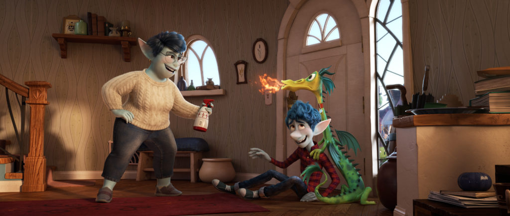 "BAD DRAGON – In Disney and Pixar's ""Onward,"" Ian Lightfoot's mom has his back—even when his hyperactive pet dragon, Blazey, is misbehaving. Featuring Julia Louis-Dreyfus as the voice of Mom, and Tom Holland as the voice of Ian, ""Onward"" opens in U.S. theaters on March 6, 2020. ©2019 Disney/Pixar. All Rights Reserved."