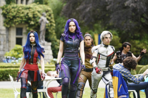 """DESCENDANTS 3 - This highly anticipated third installment in the global hit Disney Channel Original Movie franchise continues the contemporary saga of good versus evil as the teenage daughters and sons of Disney's most infamous villains-Mal, Evie, Carlos and Jay (also known as the villain kids or VKs)-return to the Isle of the Lost to recruit a new batch of villainous offspring to join them at Auradon Prep. When a barrier breach jeopardizes the safety of Auradon during their departure off the Isle, Mal resolves to permanently close the barrier, fearing that nemeses Uma and Hades will wreak vengeance on the kingdom. Despite her decision, an unfathomable dark force threatens the people of Auradon and it's up to Mal and the VKs to save everyone in their most epic battle yet. """"Descendants 3"""" is set to premiere on FRIDAY, AUG. 2 (8:00-10:00 p.m. EDT), on Disney Channel and DisneyNOW. (Disney Channel/David Bukach) SOFIA CARSON, DOVE CAMERON, BOOBOO STEWART, CAMERON BOYCE"""
