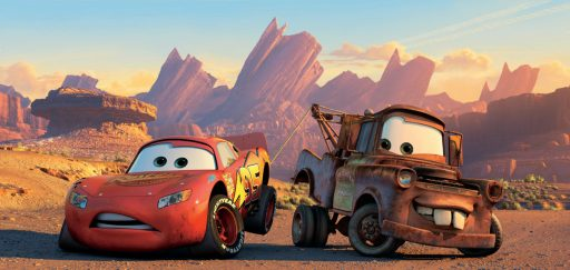 Pictured left to right: McQueen and Mater in a scene from CARS, the seventh animated feature to be created by Pixar Animation Studios and released by Walt Disney Pictures, is a high octane adventure comedy that features a wide assortment of cars as characters who get their kicks on Route 66. The film is directed by Academy Award® winner John Lasseter. Permission is hereby granted to all media to reproduce this picture on condition that it is accompanied by ©DISNEY ENTERPRISES, INC. & PIXAR ANIMATION STUDIOS. ALL RIGHTS RESERVED. Distributed by Buena Vista International.