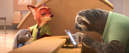 ZOOTOPIA – FLASH, THE FASTEST SLOTH AT THE DMV -- When rookie rabbit officer Judy Hopps (voice of Ginnifer Goodwin) has only 48 hours to crack her first case, she turns to scam-artist fox Nick Wilde for help, but he doesn't always have her best interests at heart. Their investigation takes them to the local DMV (Department of Mammal Vehicles), which is staffed entirely by sloths. Directed by Byron Howard and Rich Moore, and produced by Clark Spencer, Walt Disney Animation Studios'